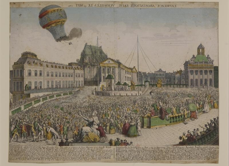 Expérience aérostatique faite à Versailles le 19 septembre 1783 par Étienne de Montgolfier en présence du roi, de la reine et de la famille royale. Versailles, bibliothèque municipale